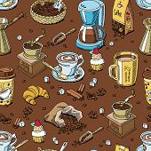Coffee pattern seamless coffeebeans and coffeecup vector drink hot espresso or cappuccino in coffeeshop and mug with caffeine in bar illustration background. poster