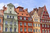 Main market, colorful tenement houses, Lower Silesia, Wroclaw, Poland. It is one of the largest markets in Europe poster