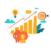 Income increase, financial strategy, high investment return, budget balance, fund raising, long term increment, revenue growth, interest rate, loan installment, credit money flat vector illustration poster