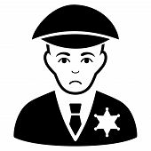 Unhappy Sheriff vector pictogram. Style is flat graphic black symbol with stress emotion. poster
