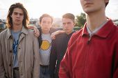 serious hipster gang. Teenage man friendship and loyalty. Bff support trust and unity poster