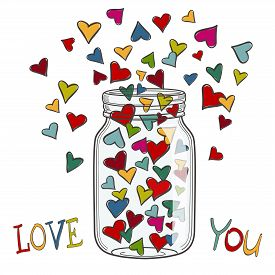 Vector illustration of colored hearts in a glass jar. You can use for greeting cards, posters and design projects.