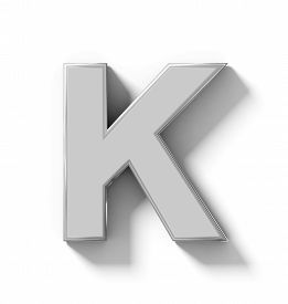 letter K 3D silver isolated on white with shadow - orthogonal projection - 3d rendering