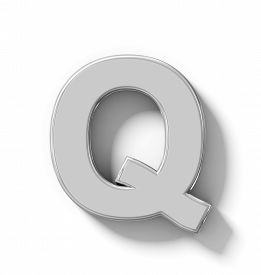 letter Q 3D silver isolated on white with shadow - orthogonal projection - 3d rendering