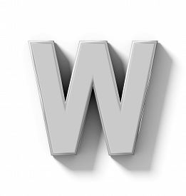 letter W 3D silver isolated on white with shadow - orthogonal projection - 3d rendering