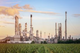 Oil Refinery factory at twilight , petrochemical plant , Petroleum , Chemical Industry