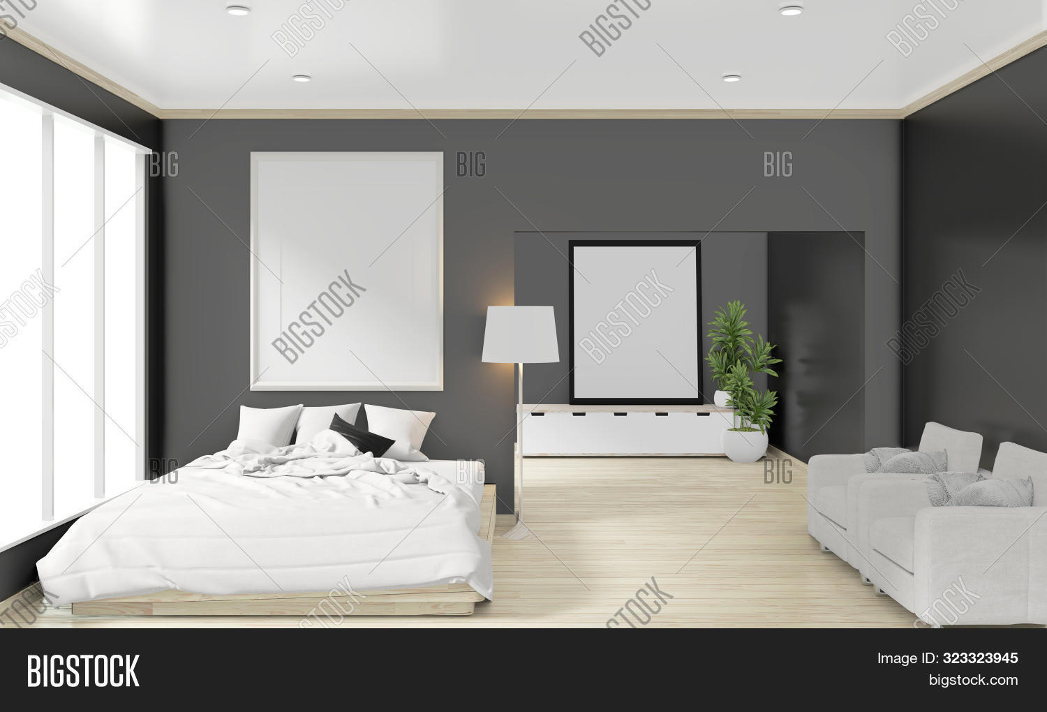 Wooden Bed Frame Image Photo Free Trial Bigstock