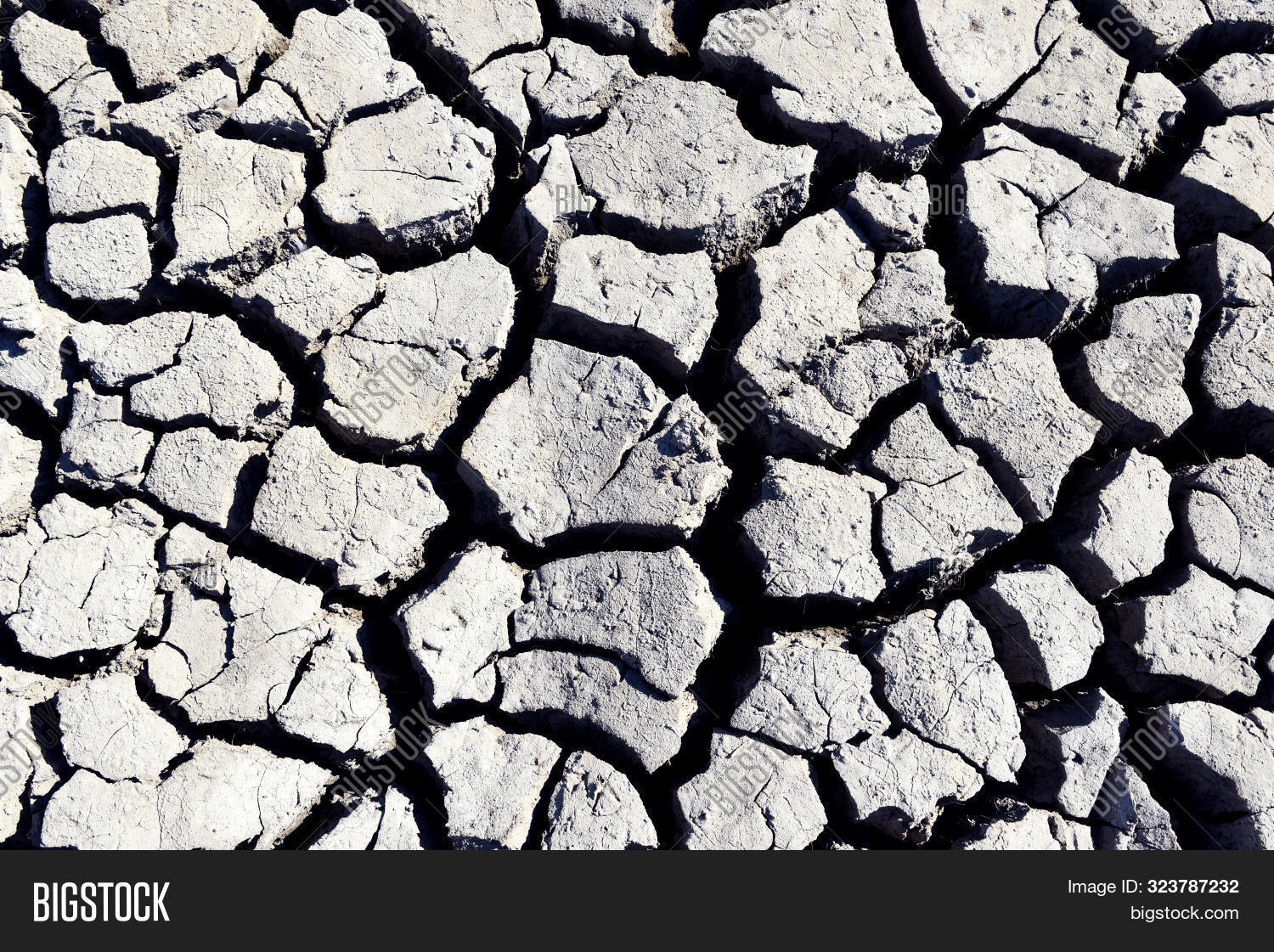 Textured Background Of Dried Earth With Huge Cracks. Land Background.