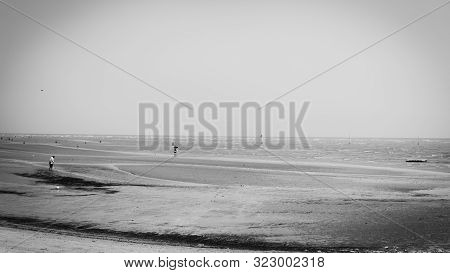 Sepang, Malaysia - September 7, 2019: Black And White Of The Low Tide At Bagan Lalang Beach During T