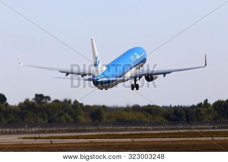 Borispol, Ukraine - September 10, 2019: Ph-bxu Klm Royal Dutch Airlines Boeing 737-800 Aircraft Depa