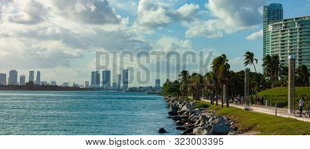 Miami Beach, Fl, Usa - October 10, 2016: Miami Cityscape As Viewed From The South Pointe Park. South