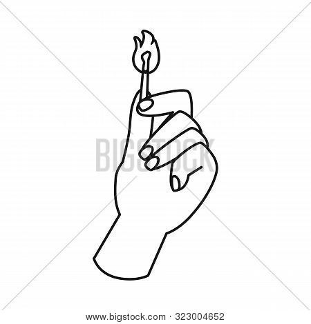 Isolated Object Of Matchstick And Arm Sign. Graphic Of Matchstick And Blaze Vector Icon For Stock.