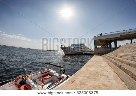 Water Taxi In The Waters Of The Volga River