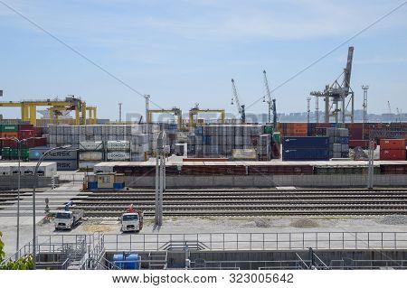 Novorossiysk, Russia - May 20, 2018: Industrial Seaport Of The City Of Novorossiysk, Industrial Zone