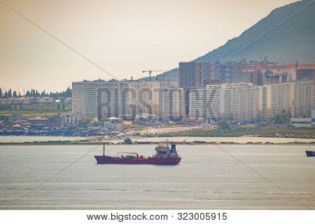 Novorossiysk, Russia - May 20, 2018: Novorossiysk Seaport, A Ship In The Cemess Bay.