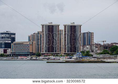 Residential Multi-storey Buildings On The Seashore. City Novorossiysk Embankment Of Admiral Serebrya