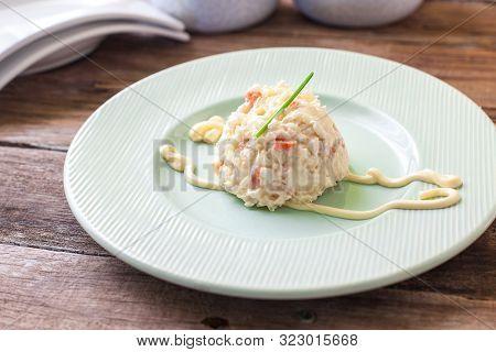 Homemade Potato Salad With Veggies And Mayonnaise