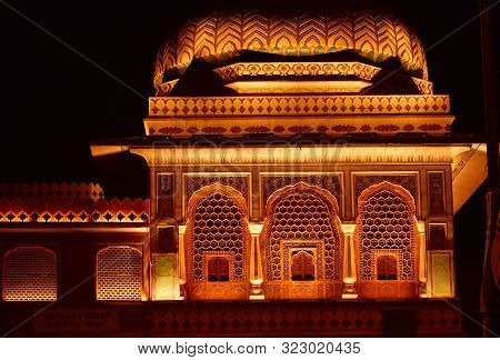 Abstract Background Of Mosque At Night, Mosque Night View, Architectural Details Of Mosque
