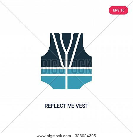 reflective vest icon in two color design style.