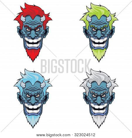 Set Of Devil Heads With Different Hairstyles. Vector Illustration For Use As Print, Poster, Sticker,
