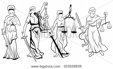 Themis Set. Collection Of Black And White Femida. Vector Illustration Of The Goddess Of Justice. Log