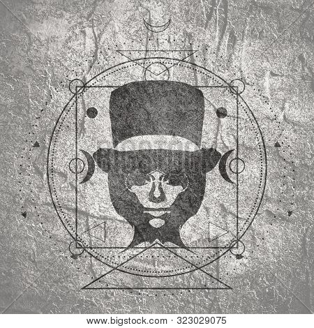 Mystical Geometry Symbol With Woman Wearing Top Hat And Spectacles. Linear Alchemy, Occult, Philosop