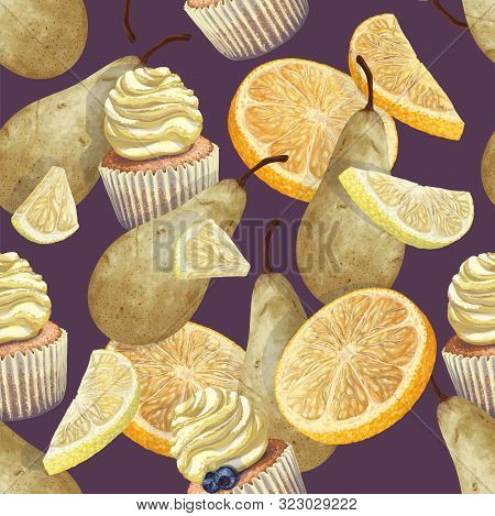 Vector Of Seamless Pattern Scattered Oranges, Lemons, Pears, Crumbly Gentle Wet Biscuit Cupcakes, St