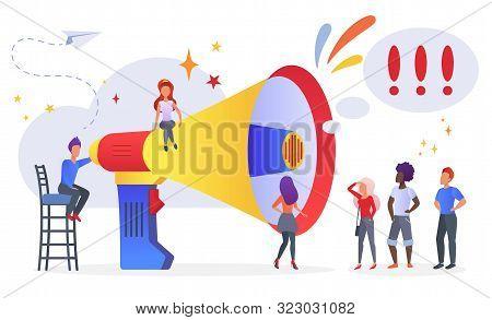 Marketing Promotional Campaign Flat Vector Illustration. Pr Management And Advertisement. Announceme