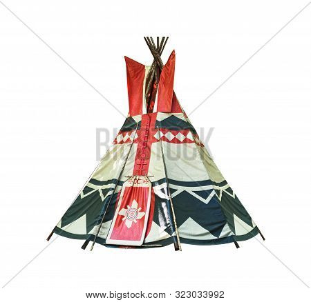 Wigwam Isolated On White Background. Conical Dwelling Of Native Americans