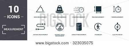Measurement Icons Set Collection. Includes Simple Elements Such As Angle Measurement, Weight Measure