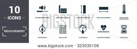 Measurement Icons Set Collection. Includes Simple Elements Such As Volume Measurement, Depth Measure