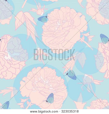 Elegant Realistic Festive Peony Botanical Pattern, Peony Blossom In Pastel Tones With Butterfly And