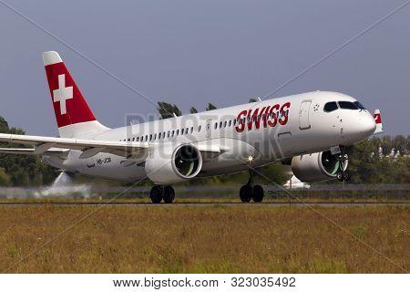 Borispol, Ukraine - September 10, 2019: Hb-jcm Swiss Airbus A220-300 (bombardier Bd-500 Cseries Cs30