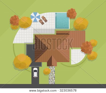 Top View Of A House. Private House With Swimming Pool, Courtyard, Lawn And Garage. Vector Illustrati