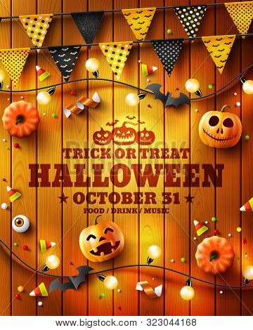 Halloween Poster With Halloween Elements On Wood Texture Background.party Invitation Concept In Trad