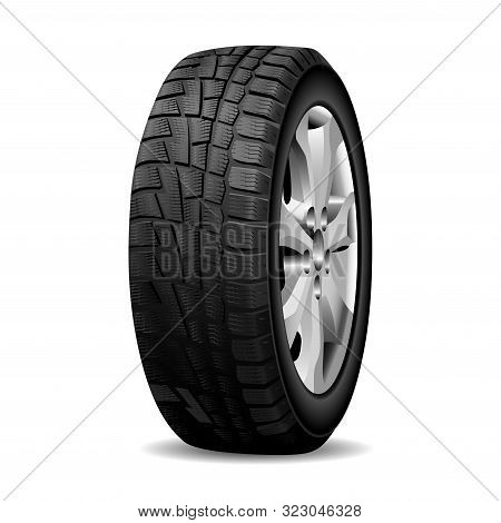 Winter Tire. Realistic Wheel Tyre Chrome Rim, Isolated. Automotive Tire With Snow Tread. Frozen Road