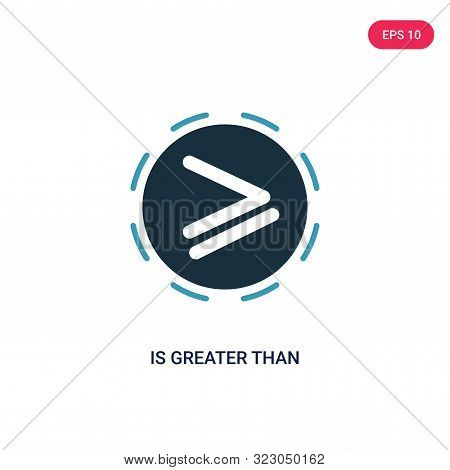 is greater than icon in two color design style.
