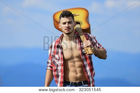 Make My Day. Hipster Fashion. Western Camping And Hiking. Happy And Free. Cowboy Man With Bare Muscu