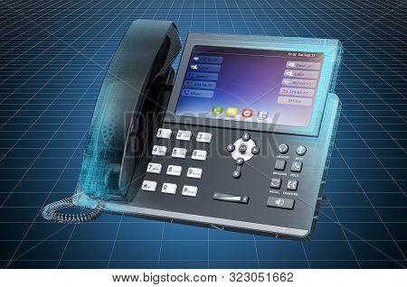Visualization 3d Cad Model Of Ip Phone, Blueprint. 3d Rendering