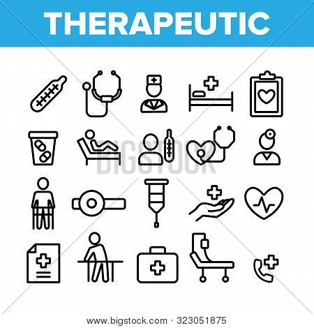 Therapeutic Collection Elements Icons Set Vector Thin Line. Sanitary Case And Nurse, Doctor And Pati