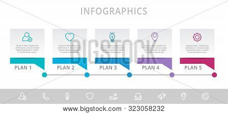 Vector Modern Infographic Flat Template Label For Five Diagrams, Graph, Presentation. Business Conce