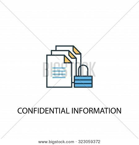 Confidential Information Concept 2 Colored Line Icon. Simple Yellow And Blue Element Illustration. C