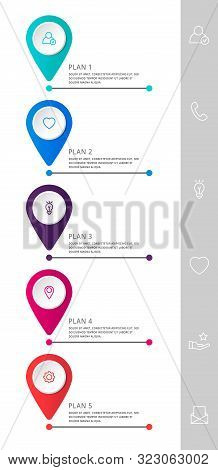 Vector Modern Infographic Flat Template Pin For Five Paper Label, Diagram, Graph, Presentation. Busi