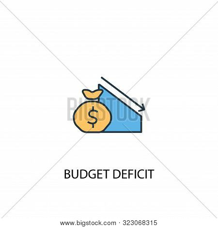 Budget Deficit Concept 2 Colored Line Icon. Simple Yellow And Blue Element Illustration. Budget Defi