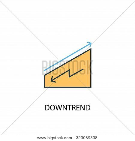 Downtrend Concept 2 Colored Line Icon. Simple Yellow And Blue Element Illustration. Downtrend Concep