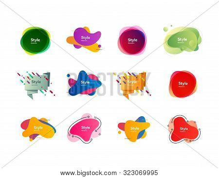 Futuristic Colorful Abstract Elements Set. Gradient Polygon And Blob Shapes With Sample Text. Trendy