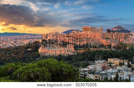 The Parthenon Temple At Sunset In The Acropolis Of Athens, Greece.