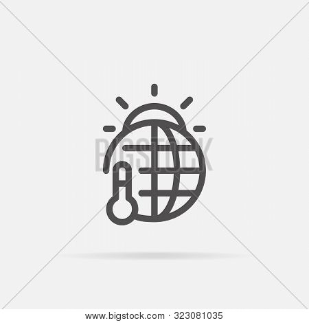 Global Warming Icon In Line Style.