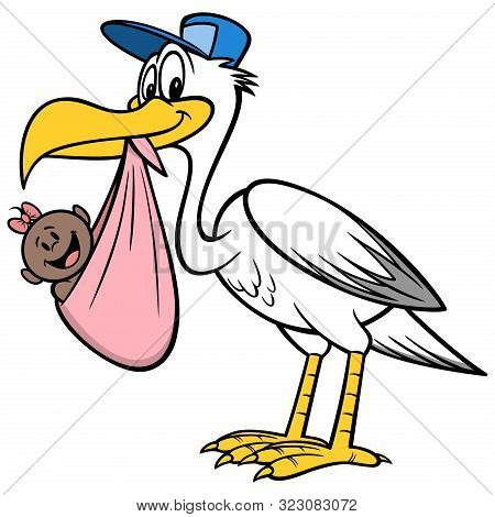 Stork Delivering An African Baby Girl - A Cartoon Illustration Of A Stork Delivering An African Baby