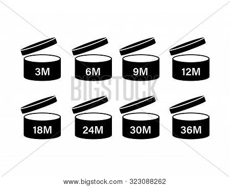 After Opening Use Icons. Expiration Date Symbols. Vector Illustration.